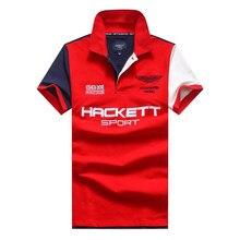 Мужская рубашка-поло с коротким рукавом HACKETT бренд 100% хлопок, вышивка, летние дышащие футболки стильные рубашки-поло для гольфа и тенниса, сп...