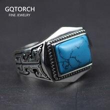 925 anillos de plata esterlina auténtica con incrustaciones de piedra Natural para hombre, anillo para hombre, diseño Vintage polígono, joyería de Turquía ajustable