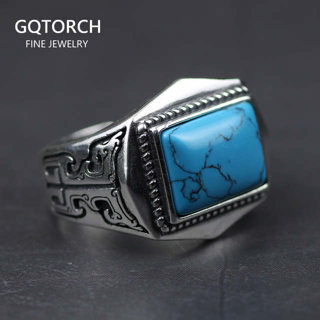 Genuine 925 Sterling Silver Rings For Men Inlaid Natural Stone Mens Ring Polygon Vintage Design Adjustable Turkey Jewelry
