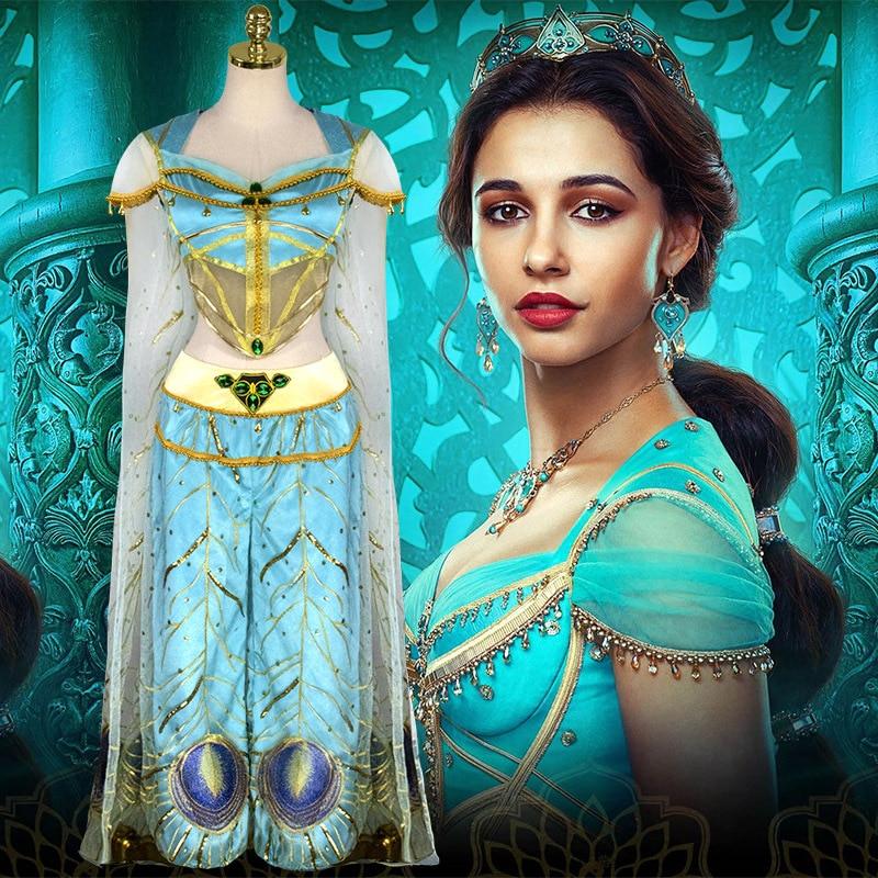 Movie Aladdin Princess Jasmine Cosplay Costume Dress Peacock Jacket Trousers Veil Cloak Adult Woman Removable Clothing