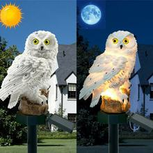 Owl Solar Light With Solar LED Panel Fake Owl Waterproof Solar Garden Lights Owl Ornament Animal Bird Outdoor Lamps(China)