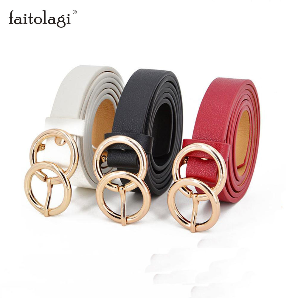 Thin Female Circle Buckles Black Belt Deduction Side Gold Buckle Jeans Belts Women Girls Double Ring Buckle Leather Waist Belt