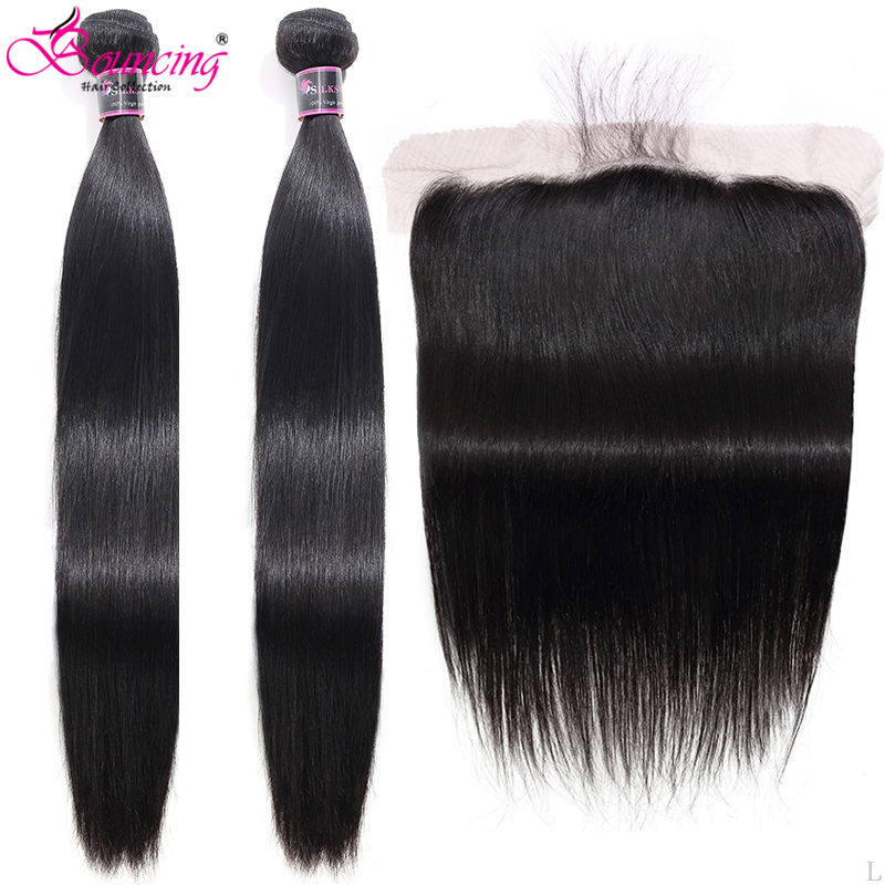 Straight 30-40 Long Inch Human Hair Bundles With Closure Brazilian Remy Hair Weft 2Bundles With 13x4 Lace Front Hair Weave