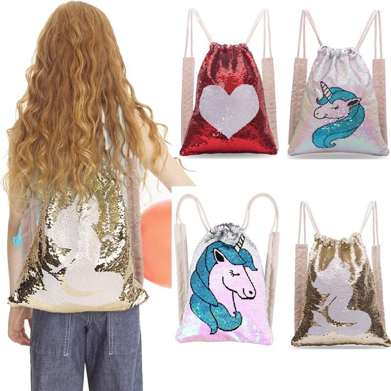 Mermaid Cartoon Drawstring Bag Girls Unicorn Painting Backpack Magic Reversible Sequins Shoulder Bag Kids School Backpack