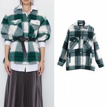 Za Vintage women's jacket shirt plaid oversized jacket check