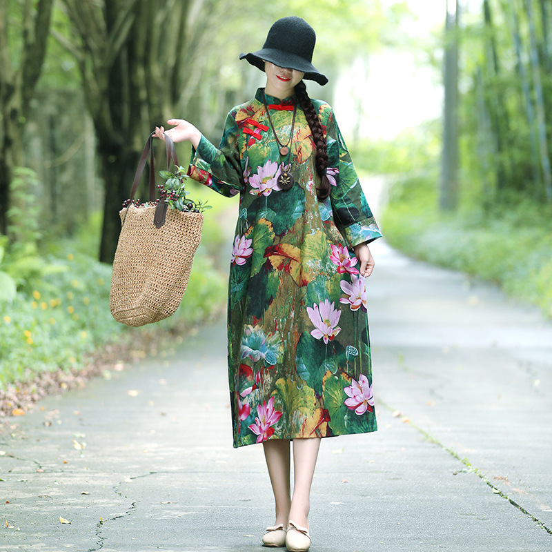 Feimina 2018 Autumn WOMEN'S Dress Chinese Style The Republic Of China-Style Cotton Linen Cheongsam Dress Frog Robes Skirt Yg8647