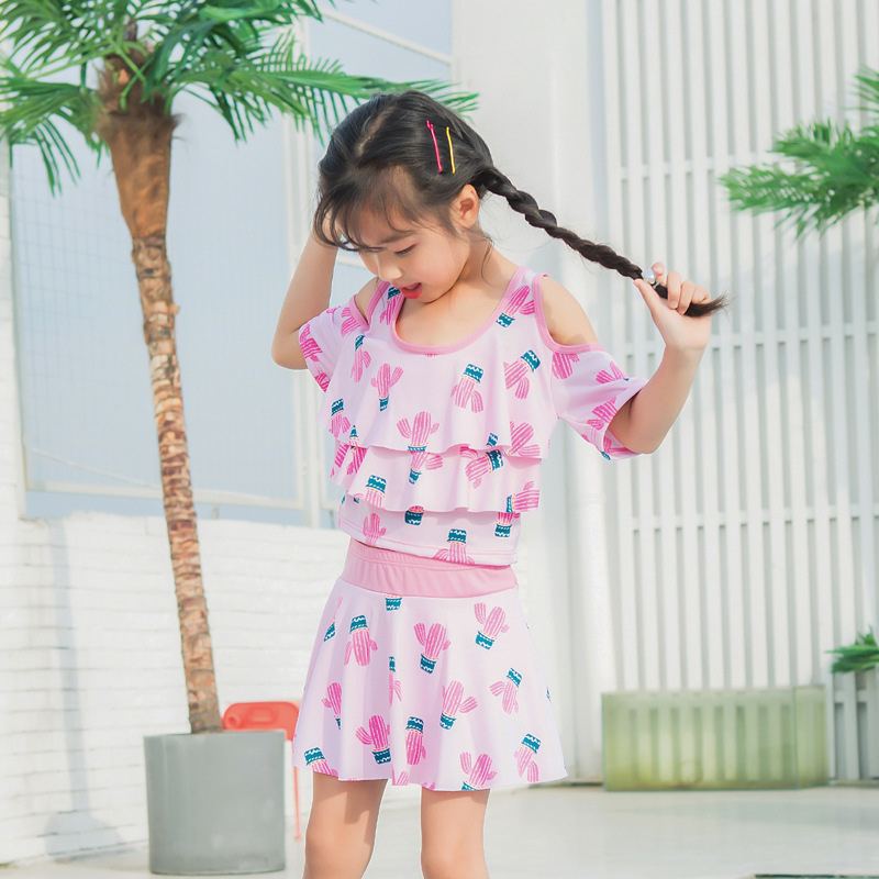 Girl'S Swimsuit Split Type Cute Children Sun-resistant Boxer Swim Bathing Suit Big Boy Baby Korean-style Princess Dress-Swimwear