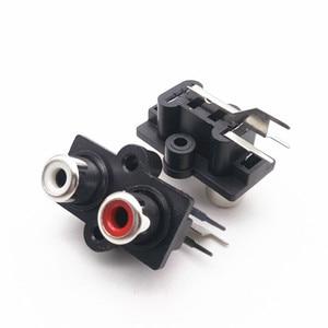 100 шт. RCA Jack 2 отверстия гнездовой разъем AV2-7 печатного монтажа AV аудио и видео панель Jack белый и красный цвет отверстия