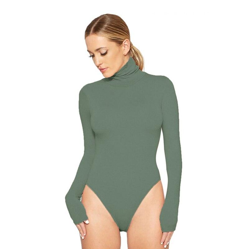 Turtleneck Long Sleeve Women Bodysuits Elastic Slim Elegant Femme Jumpsuits High Waist Autumn Winter Clothing Female 12 Colors
