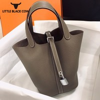 Ladies Genuine Leather Handbag Fashion Cowhide Bucket Bags Women New Office Party Small Tote Bags Top Quality Shopper Bag