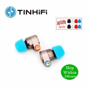 Image 1 - Tinhifi t2 fones de ouvido dupla unidade dinâmica de alta fidelidade baixo fone dj metal earplug com mmcx estanho alta fidelidade t3 p1 t2 n1 s2