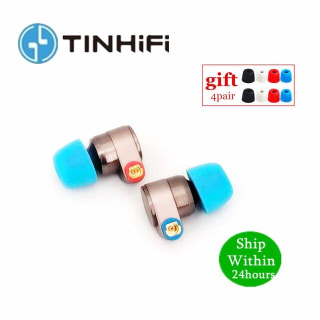 Tinhifi t2 fones de ouvido dupla unidade dinâmica de alta fidelidade baixo fone dj metal earplug com mmcx estanho alta fidelidade t3 p1 t2 n1 s2