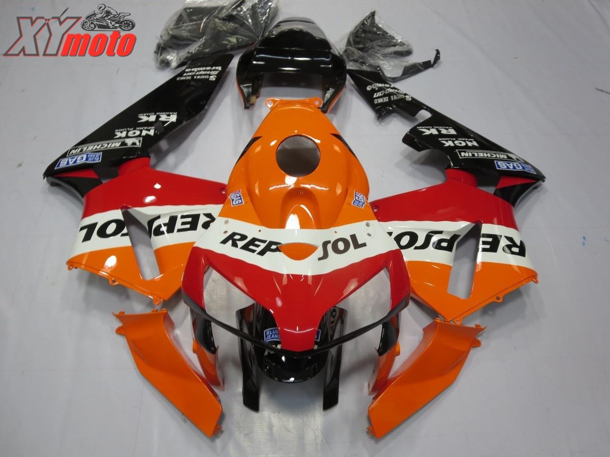 Carénage ABS pour Honda CBR600RR F5 2005-2006 05-06 Kit carénage moto Injection carrosserie ABS plastique Orange Repsol