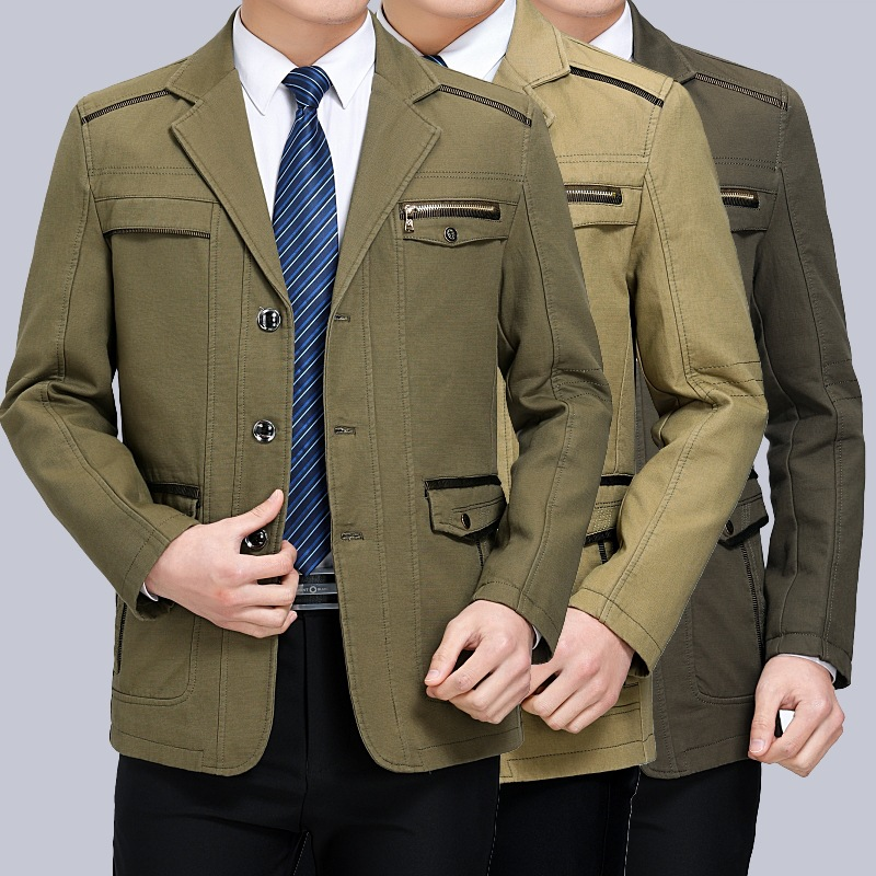 New 2020 Middle aged man Spring Autumn Jacket Men Casual Fashion Jackets Plus size M XXXL 4XL 5XL|Jackets| - AliExpress