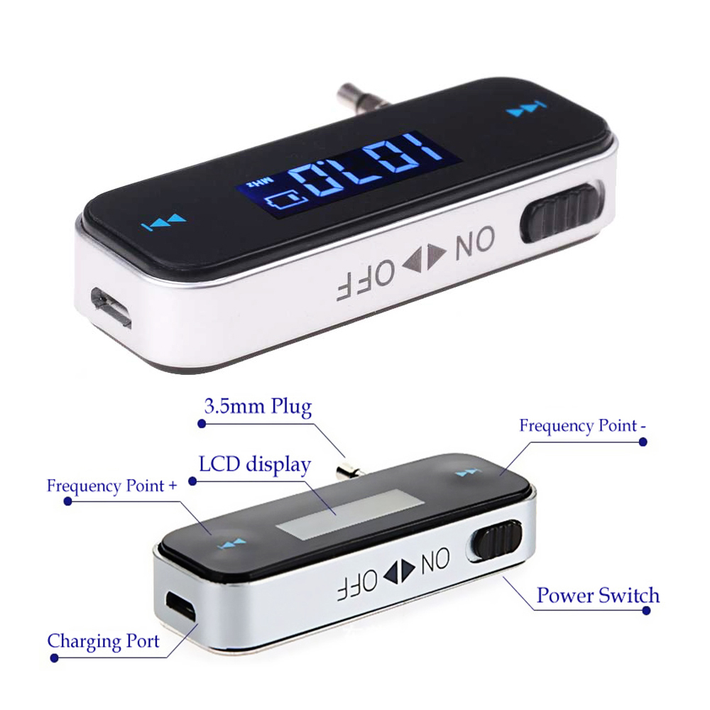Krando Wireless Mini FM Transmitter 3.5mm In-car Car Music Audio MP3 Player Transmitter for iPhone 4 5 6 6S Plus Samsung iPad
