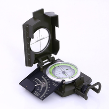 Military quality high-end military green multifunctional luminous compass outdoor sports adventure mountain camping compass outdoor waterproof compass survival kit emergency geological digital luminous compass hiking camping hunting military equipment