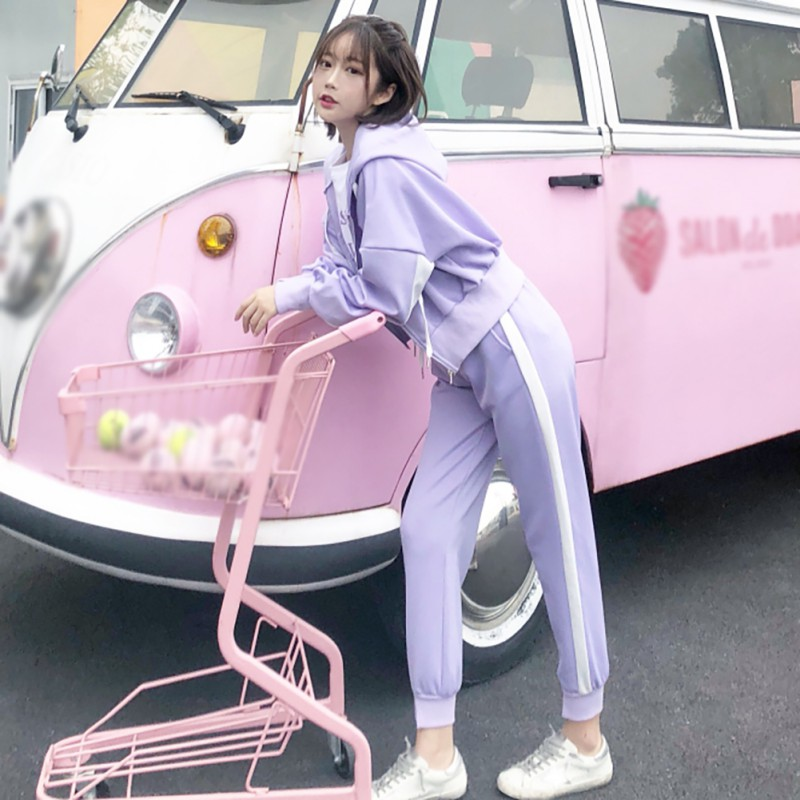 Women Casual Sets 2019 Summer Autumn Loose Simple Solid Color Hoodies+ Slim Pants Two-Piece Suit