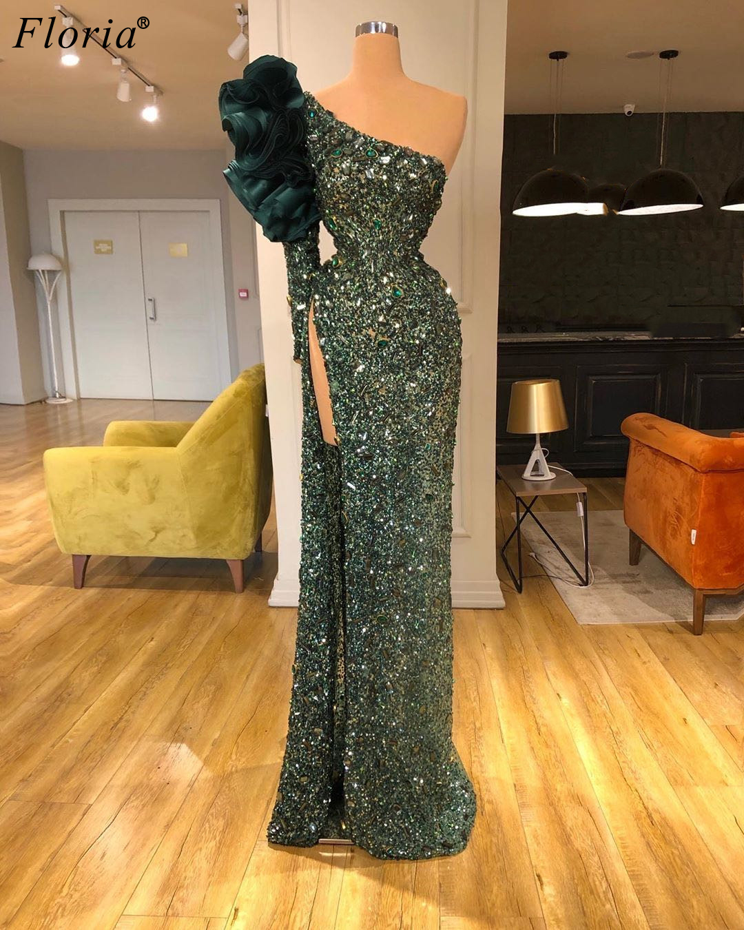 Gorgeous Abendkleider Heavy Handmade Evening Drsses Muslim One Shoulder Evening Gowns Long Sexy Prom Dresses Woman Couture Robe