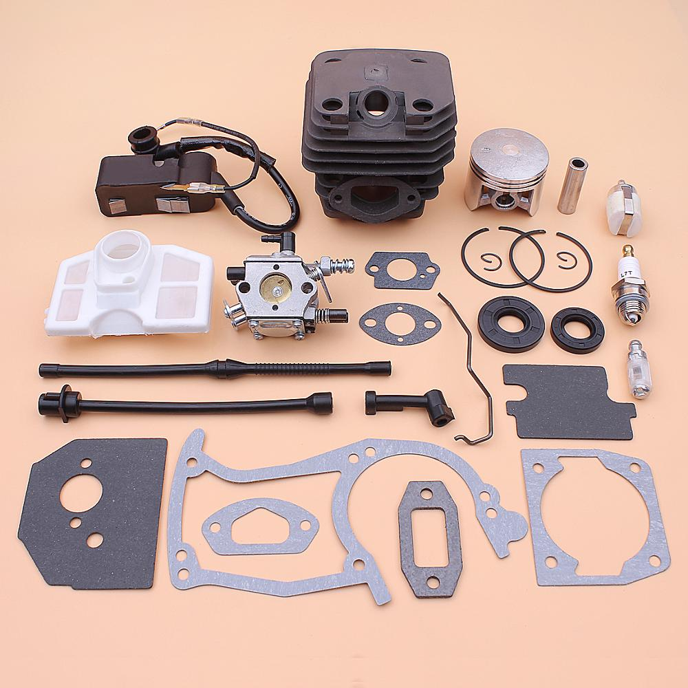 45mm Cylinder Piston Carburetor Ignition Coil Kit For Chinese Chainsaw 5200 52cc Air Fuel Oil Filter Line Seal Gasket Set