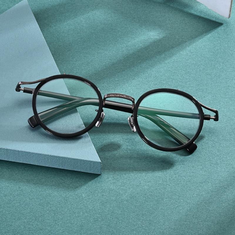 2020 Japanese Literary New Style Titanium Acetate Eyeglasses Vinatge Round Circle Optical Glasses Frame For Men Women Spectacle