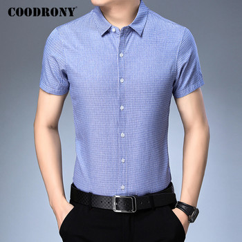 COODRONY Men Shirt Spring Summer Short Sleeve Business Casual Shirts Mens Clothes Fashion Striped Cotton Camisa Masculina C6016S coodrony men shirt spring summer short sleeve business casual shirts slim fit fashion striped gentleman camisa masculina c6021s