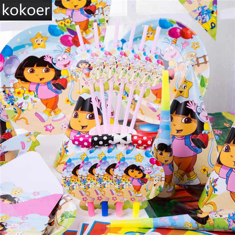 Gambar Kartun Dora The Explorer Sekali Pakai Cangkir Kertas Piring Serbet Banner Taplak Meja Pesta Ulang Tahun Baby Shower Dekorasi