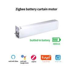 Tuya inteligente zigbee cortina elétrica do motor com bateria cronometragem app remoto alexa google casa controle de voz para casa inteligente