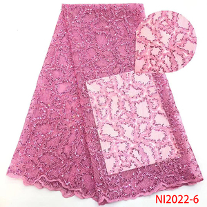 Image 1 - Baby Pink Lace Fabrics Sequence Lace Fabric African Tulle Lace Fabric for Evening Party Dresses Sequins Lace Fabric NI2022 6