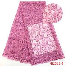 เด็กสีชมพูผ้าลูกไม้ลำดับลูกไม้ผ้าแอฟริกันผ้าลูกไม้ Tulle ผ้าสำหรับชุดราตรี Sequins ลูกไม้ผ้า NI2022 6