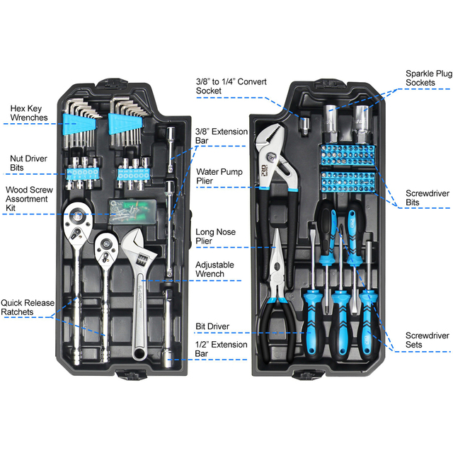 228pcs Tool Set Socket Wrench Tools Auto Repair Mixed Combination Toolbox Package Hand Kit Plastic by PROSTORMER 2