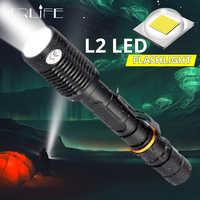 8000 люмен супер яркий L2 T6 светодиодный светильник фонарь тактический Водонепроницаемый масштабируемый светильник для вспышки 2x18650 батареи 5...