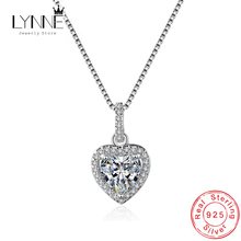 Hot Sale Fashion 925 Sterling Silver Heart Pendants Necklaces Wedding Party CZ Charm Clavicle Necklace For Women Jewelry Gift banbu new arrival 925 sterling silver necklaces jewelry polishing process plate gold necklace women hot sale best gift for girls