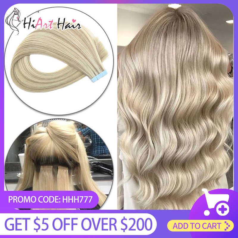 "Hiart 2.5G Tape Hair Extensions Salon Double Drawn Human Remy Haar Plakband Extensions Straight Russische Haar 18 ""20"" 22"""