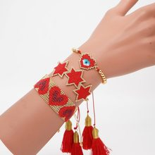 boho MIYUKI Heart Bracelet 3 Star Pulseras Mujer 2019 Bracelets Red Crystal Jewelry For Women Tassel Handmade Woven Armband(China)