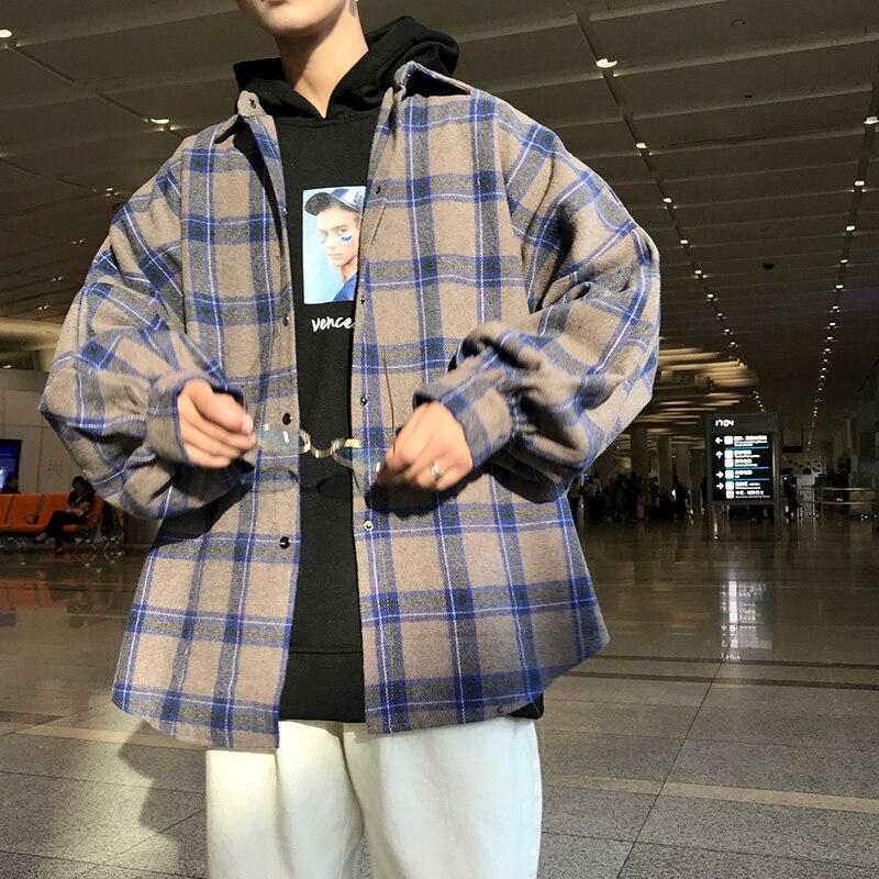 Winter New Thick Woolen Shirt Men Fashion Retro Casual Woolen Jacket Man Streetwear Wild Loose Long-sleeved Shirt Coat Men M-5XL