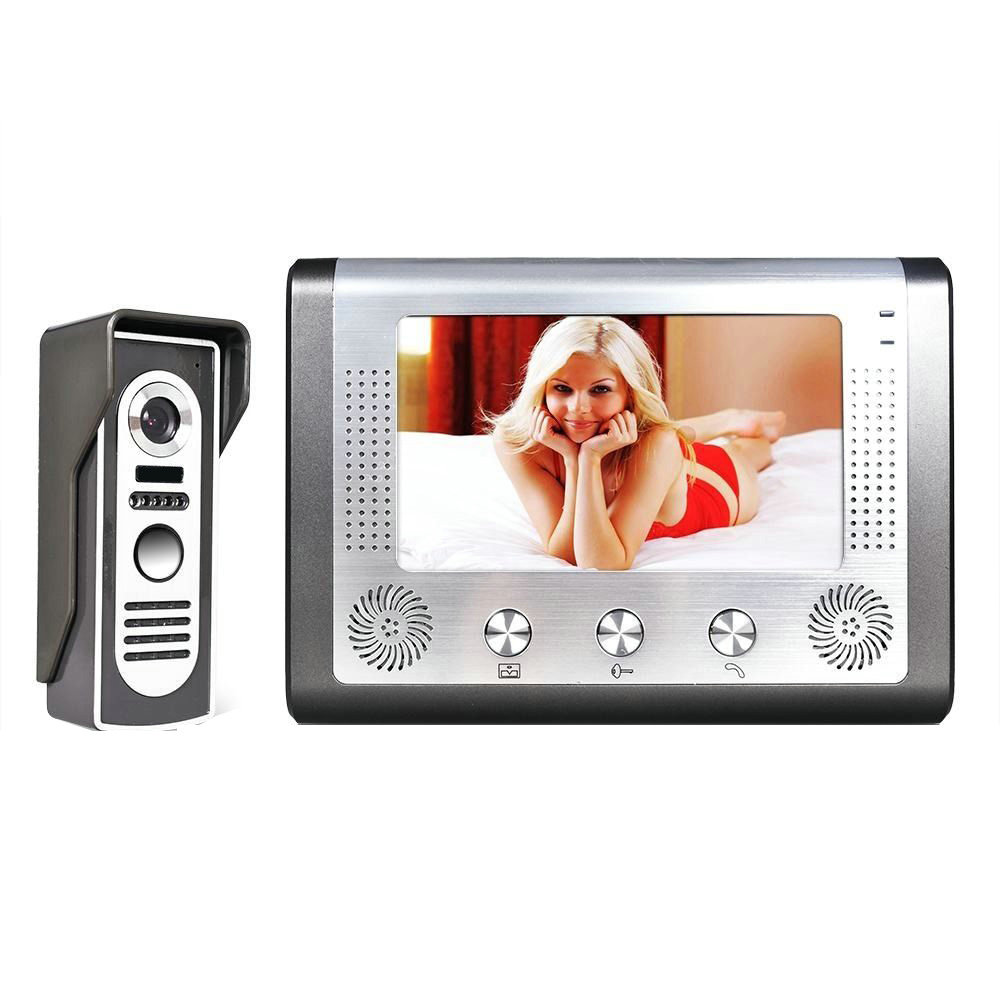 7'' TFT LCD Wired Video Door Phone Visual Video Intercom Doorbell Speakerphone Intercom System With Waterproof Outdoor IR Camera