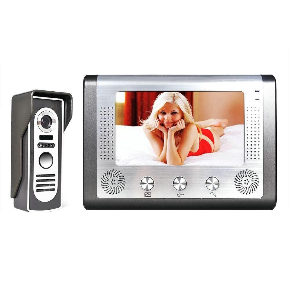 Güvenlik ve Koruma'ten Video Interkom'de 7 ''TFT LCD kablolu görüntülü kapı telefonu görsel Video interkom kapı zili hoparlör interkom sistemi su geçirmez açık IR kamera title=