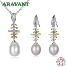 100% Real Natural Pearl Jewelry Sets Silver 925 Zircon Drop Earring Pendant Necklace Women Pearl Wedding Jewelry Set