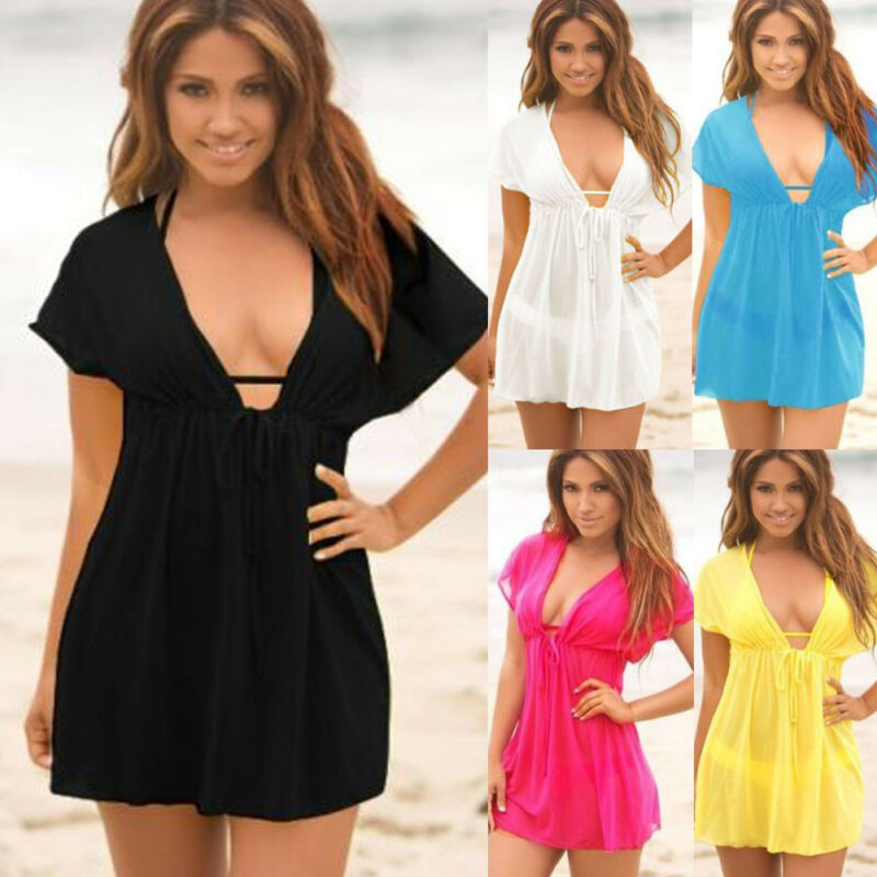 Ladies Beach Dress Cover Up Kaftan Sarong Summerwear Swimwear Bikini 6 Color V Neck Sexy Thin Breathable Short Mini Dresses