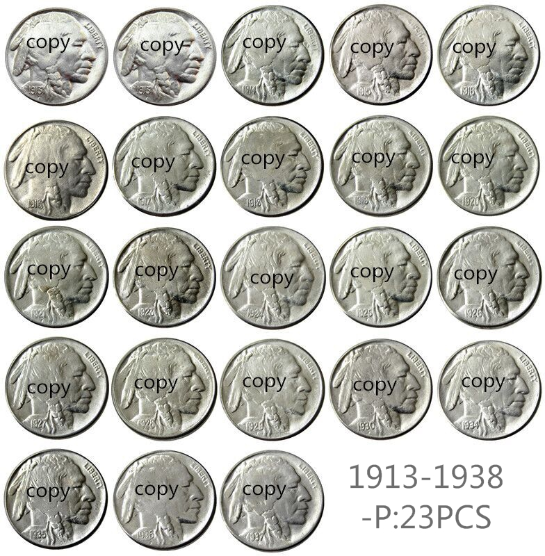A SET OF 1913-1938 67pcs Buffalo Nickel Five Cents Copy Coins image