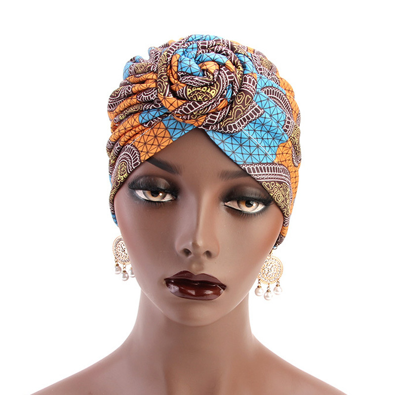 2020 New Fashion Bohemia Cotton Lined Bonnets Women African Vortex Knot Pattern Print Fabric Ankara Bonnets Hat Ladies Turban