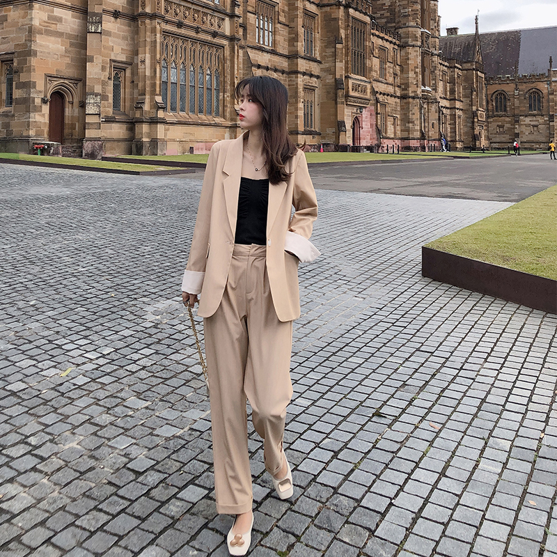 Mishow 2019 Women Autumn Solid Two Pieces Outfits Suit Set Turn-Down Collar Blazer Shorts Or Long Pant Sold Separately MX19C6153