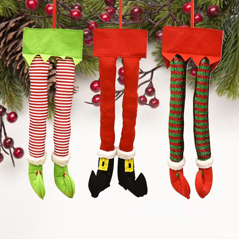 Novelty Christmas Santa Elf Legs Funny Plush Stuffed Feet with Shoes Xmas Tree Door Car Ornament Decorations