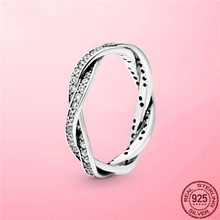 2021 New 925 Sterling Silver Sparkling Twisted Lines Ring for Women Ring Clear CZ Wedding Engagement Zircon Zircon Jewelry Gift