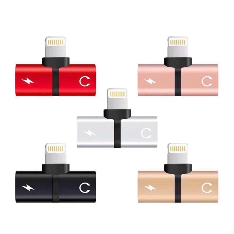 Mini Metal 2 in 1 <font><b>Adaptor</b></font> Audio Charging Connector for <font><b>iPhone</b></font> X XR XS 11 Pro Max <font><b>7</b></font> 8 Plus Music Earphone Jack Adapter Converter image
