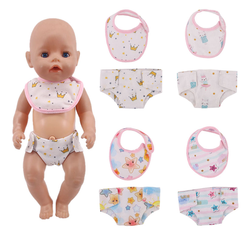 Doll Cute Star 2Pcs=Mouth Towel+Panties Pattern Cotton Fit 18 Inch American&43Cm Born Baby,Generation, Birthday Girl's Toy Gift