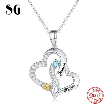 цена 925 Sterling Silver necklace Custom Letter Double Heart Pendant Necklace with Name and Birthday Stone Diy Fashion Jewelry Gift онлайн в 2017 году