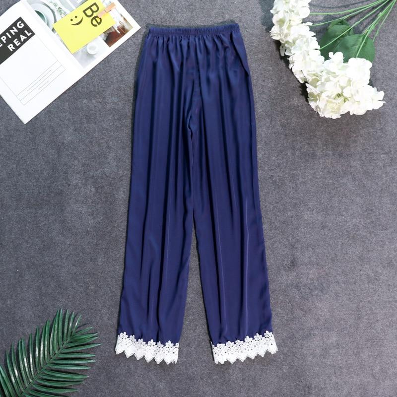 Осенние женские атласные пижамные штаны Свободные повседневные пижамы одежда для сна штаны для отдыха домашняя одежда - Цвет: navy blue C