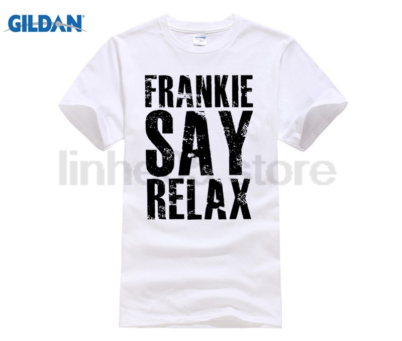 New Metal Short Sleeve Casual Shirt Frankie Say Relax T-shirt Funny Retro Soft Goes To Hollywood 80s Music Tee image