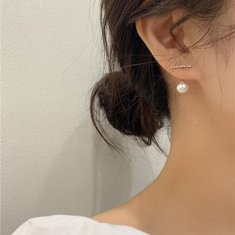 New Korean Crystal Line Metal Pearl Stud Earrings For Women Girl Simple Gold Color Small Earring Party Jewelry